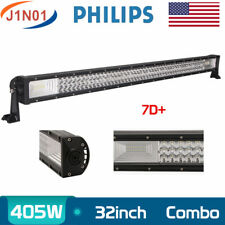 32INCH 405W COMBO 7D+ TRI-ROW LED LIGHT BAR DRIVING OFFROAD SPOT&FLOOD PK 30/34""