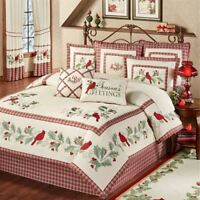 Red Bird Cardinal Comforter Set Christmas Bedding Plaid Holiday 8 Piece Set Ecru