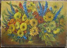 Walter Gareis 1963 Peinture à L'Huile Tournesol & Hybrides Nature Morte Frühling