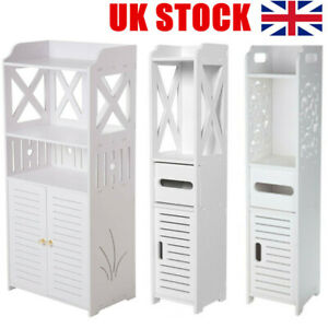 Wooden Bathroom Shelf Cabinet Cupboard White Bedroom Storage Unit - FreeStanding