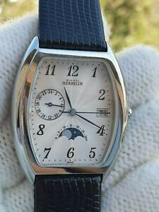 MICHEL HERBELIN 19658 MOONPHASE GMT QUARTZ DATE 35x42mm MENS MADE IN FRANCE