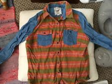 Colourful FITTED DENIM SHIRT TOP BLOUSE 170/92A/UK size 10