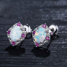 Multi Color White Fire Opal Rose Topaz Solid Silver Woman Stud  Earrings