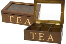 Vintage Style Brown Wooden Tea Storage Box  6 Compartments