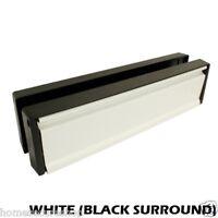 UPVC DOOR LETTERBOX LETTER PLATE ANTI SNAP (WHITE, BLACK SURROUND)