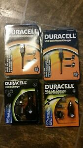 Lot of 4-Duracell 3-in-1 Charger - Car, USB Port - Micro USB, & USB port