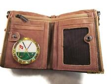 18th HOLE GOLF VINTAGE FINISH BROWN GENUINE COWHIDE BIFOLD WALLET