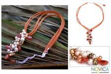 Pendant Pearl and carnelian pendant necklace, 'Fascination' NOVICA