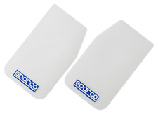 2 Sparco Car Mudflaps - Clear/White - Wide Rally Sportsflaps
