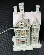 The Lenox Village Collection Porcelain Lighted Victorian House Christmas Wreaths