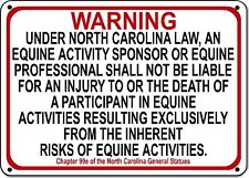 NORTH CAROLINA Equine Sign activity liability warning statute horse barn stable