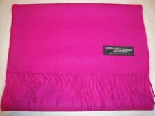 100% Cashmere Solid Elegant Hot Pink Scarf Made in Scotland Warm Wool Soft 2 PLY
