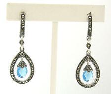 Marcasite .925 Sterling Silver Small Tear Drop Blue Topaz Dangle Halo Earrings