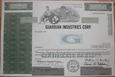 SPECIMEN Stock Certificate: 'Guardian Industries Corp.' - Glass & Auto - Green