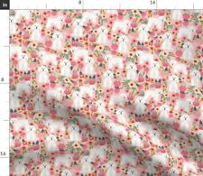 Florals Cute Dogs Best Flowers Floral Pink Spoonflower Fabric by the Yard