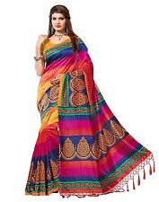Indian Bollywood Women's Mysore Art Silk Saree with Blouse Piece