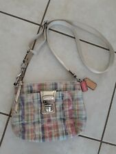 Coach Poppy Sequined Pink Madras Plaid Signature Crossbody Swingpack 47592