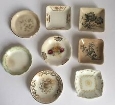 Antique Butter Pat Dish Lot ~ Floral Transfer Ware ~ Square & Round ~ Lot of 8
