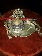Vintage Brass Crystal Inkwell Rococo Antique French Style