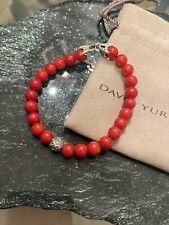 """DAVID YURMAN Men's 8mm Coral Silver W Wave Spiritual Beads Bracelet 8.5"""""""