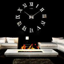 Modern Large DIY Wall Clock 3D Mirror Roman Numerals Surface Sticker Home Decor