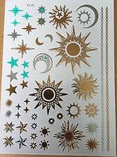 Fashion sun moon star waterproof metallic golden temporary tattoo flash deserve