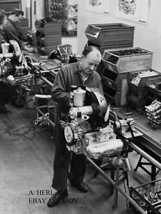 Porsche 356 B 1960s engine assembly line in Porsche factory Zuffenhausen photo 1