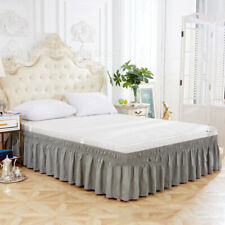 Pure Elastic Bed Ruffles Bed Skirt for Twin Full Queen King