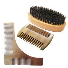 Beard Brush Boar Hair Bristle + Wood Pocket Beard Comb + Beard Shaping Tool Kit