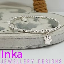 Inka 925 Sterling Silver stretch beaded Stacking Bracelet with Paw print charm