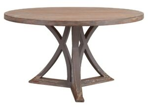 "54"" Ornella Country Round Dining Table Old Solid Pine Wood Distressed Grey Natur"