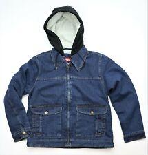 New Wrangler Sherpa Lined Hooded Denim Jacket Men's Size Small