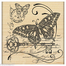 New Penny Black GATHERING TOGETHER Wood Rubber Stamp Butterfly Key Scroll Seal