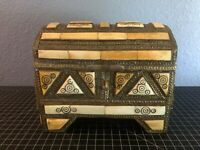 Antique Treasure Chest Trinket Box - Hand Made White Stone Brass Wood Gold Leaf