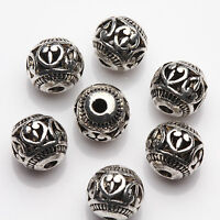 New 10/20Pcs Tibetan Silver Hollow Heart Spacer Beads Jewelry Finding Craft 8mm