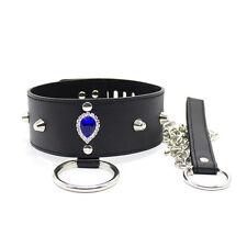 Sexy Blue Diamond Bondage Slave Fetish Collar & Leash With Lock & Keys
