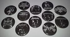 12 black Metal badges 25mm Mayhem Emperor Immortal Dark Throne Funeral Venom