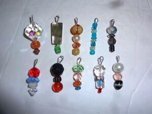 MINIATURE GLASS Crystal BEAD CHRISTMAS 10 mini ORNAMENTS FEATHER TREE