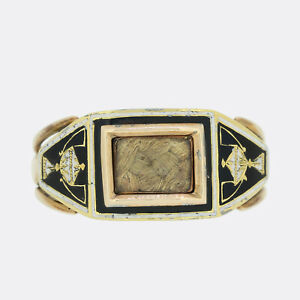 Antique Gold Ring - Early Victorian Hair Locket Black Enamel Mourning Ring 15ct