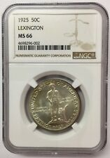 1925 50C Lexington Silver Commemorative NGC MS66