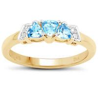 9ct Gold Topacio Azul&Diamante Anillo de Compromiso, Tamaño H, i ,J , k, L, M, N