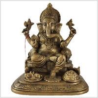 Feiner sitzender Ganesha auf Podest Glücksgott 28cm 5,2kg Shiva Parvati