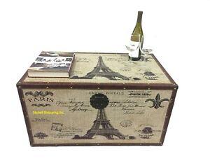 Paris Postcard Large Wood Storage Trunk Wooden Hope Chest
