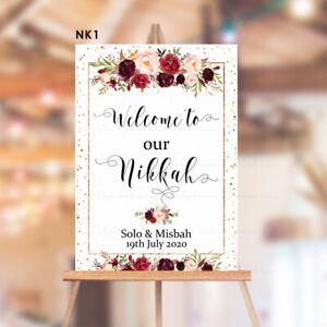 Nikkah Ceremony Mehendi Sangeet Personalised Wedding Sign Gold Flower Floral red
