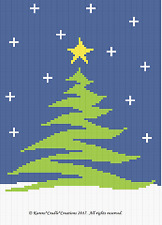 Crochet Patterns -  CHRISTMAS TREE IN THE SNOW Graph/Chart afghan pattern *EASY
