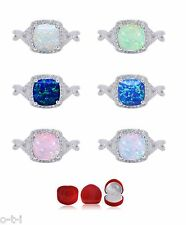 Princess Cushion Promise Infinity Celtic Opal Genuine Sterling Silver Ring