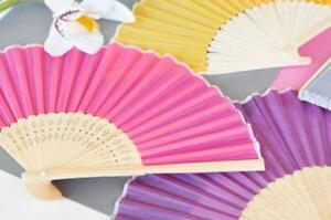 Silk Chinese Folding Hand Fan (Set of 5) - Summer Wedding Favors - Party Fans