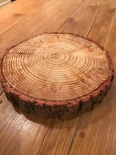 Christmas cake or Decoration Log board, real rustic log stand 12""