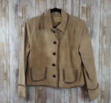 Scully Womens Large Western Distressed Brown Leather Suede Fringe Jacket