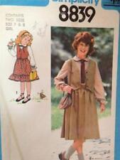 Simplicity Sewing Pattern 8839 Vintage Girls  Blouse Skirt Vest Size 7 & 8 Cut
